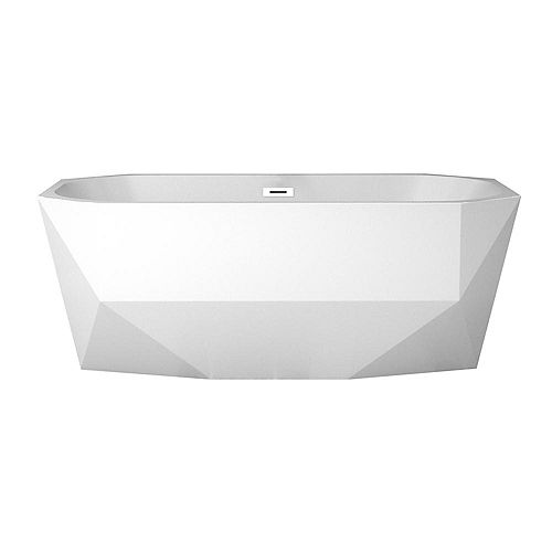 63 inch Streamline N-10220-63FSWH-FM Soaking Freestanding Tub and Tray With Internal Drain