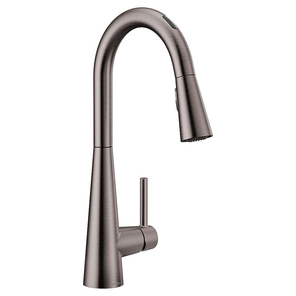 MOEN U By Moen Sleek Pull-Down Smart Kitchen Faucet In Black/Stainless Steel