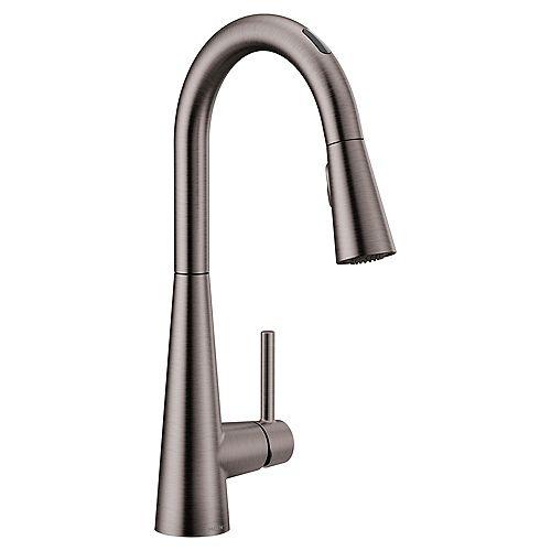 U By Moen Sleek Pull-Down Smart Kitchen Faucet In Black/Stainless Steel