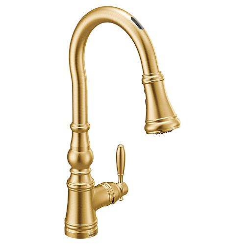 U By Moen Weymouth Pull-Down Smart Kitchen Faucet In Brushed Gold