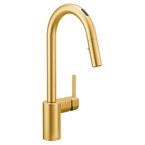 U By Moen Align Pull-Down Smart Kitchen Faucet In Brushed Gold