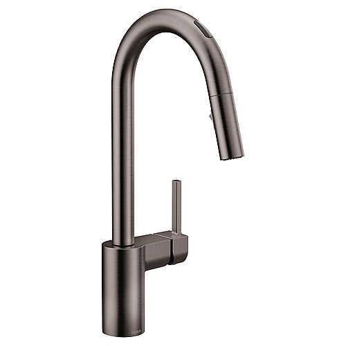 U By Moen Align Pull-Down Smart Kitchen Faucet In Black/Stainless Steel