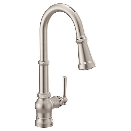 U By Moen Paterson Pull-Down Smart Kitchen Faucet In Spot Resist Stainless