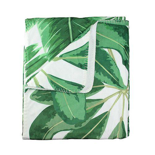 """Blanc et vert feuilles tropicales en peluche Toison Throw Blanket 50"""" x 60"""""""