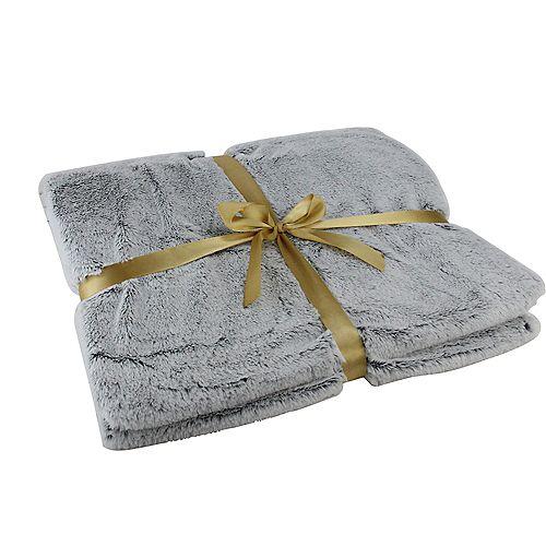 """Gris clair en peluche en fausse fourrure décorative rectangulaire Throw Blanket 55"""" x 62"""""""