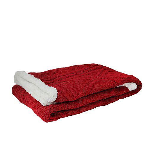 """Rouge et blanc torsades en peluche Sherpa Couverture 50"""" Throw x 60"""""""