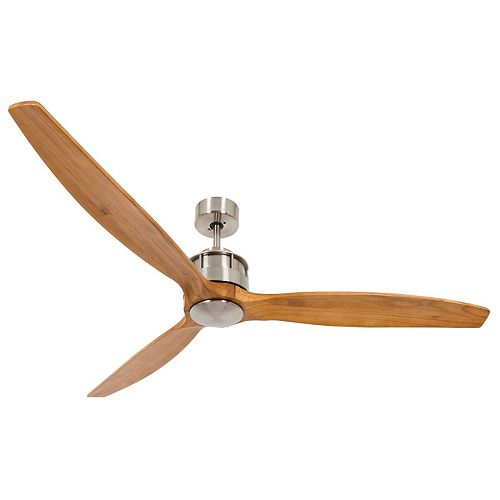 Akmani Brushed Chrome and Teak 60-inch DC Ceiling Fan