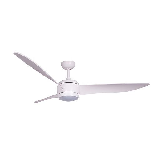 """Nordic 56"""" Ceiling Fan with LED Light Kit in Matt White and White Wash Blades"""