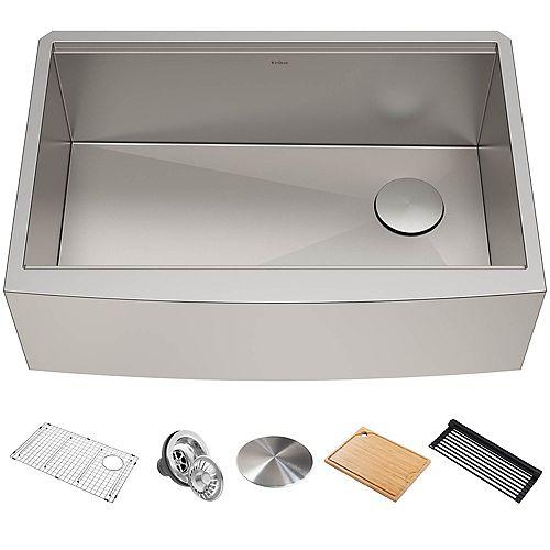 Kraus 33 inch 16 Gauge Undermount Single Bowl Stainless Steel Farmhouse Kitchen Sink with Accessories