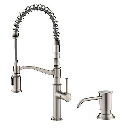 Kraus Pull-Down Sprayer Faucet with Deck Plate/Soap Dispenser, Stainless Steel