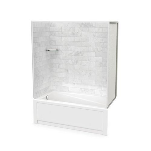 Utile Marble Carrara 60 x 32 x 81-inch Tub Shower Combo with New Town Bath Left Drain