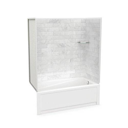 Utile Marble Carrara 60 x 32 x 81-inch Tub Shower Combo with New Town Bath Right Drain