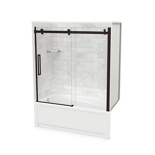 MAAX Utile Marble Carrara 60 x 32 x 81-inch Tub Shower, with New Town Left Drain, Halo Door Dark Bronze