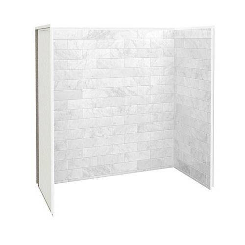 Utile 60-inch x 32-inch x 60-inch Tub Shower Wall Kit Marble Carrara (3 Panels Kit)