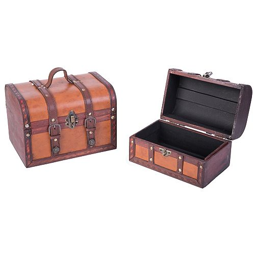 Vintiquewise Decorative Leather Treasure Boxes, Set of 2