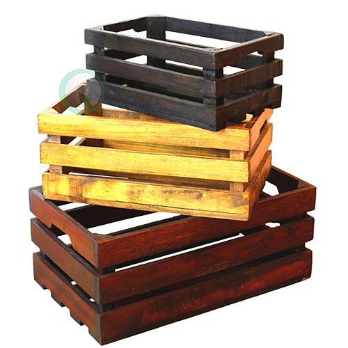 Décoratifs Old couleur Les Caisses en bois, Ensemble de 3