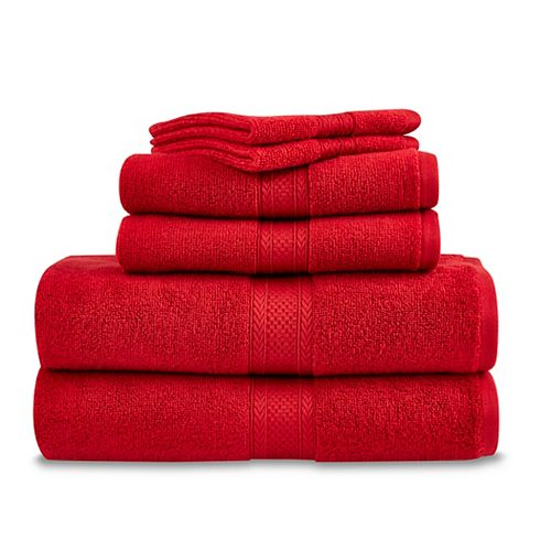 Martex 6 Piece Zero Twist Towel Set - Scooter Red