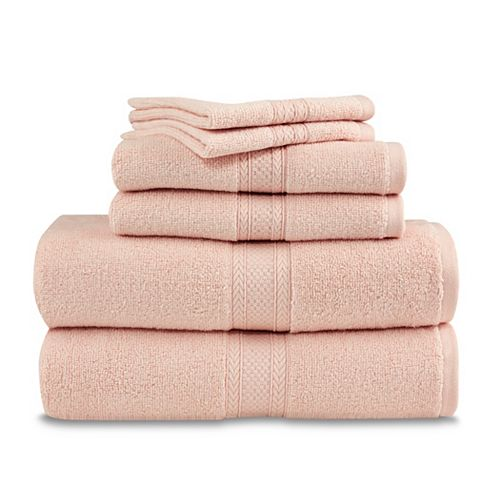 Martex 6 Piece Zero Twist Towel Set - Light Pink