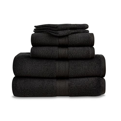 Martex 6 Piece Zero Twist Towel Set - Black