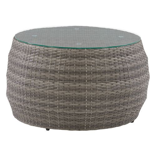 CorLiving Patio Coffee Table Round - Blended Grey Frame