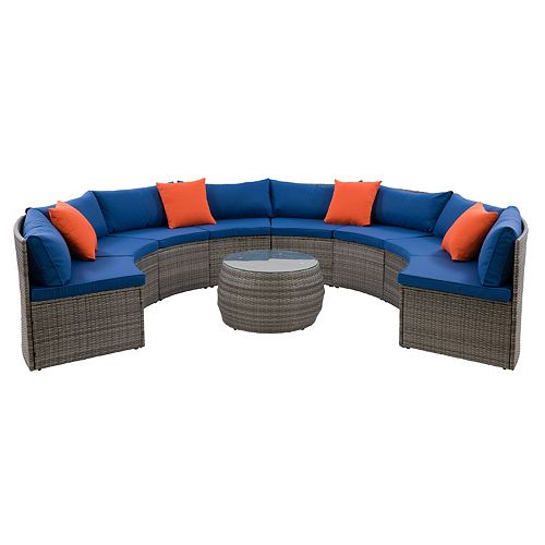CorLiving Parksville Patio Sectional Set- Blended Grey Finish/Oxford Blue Cushions 5pc