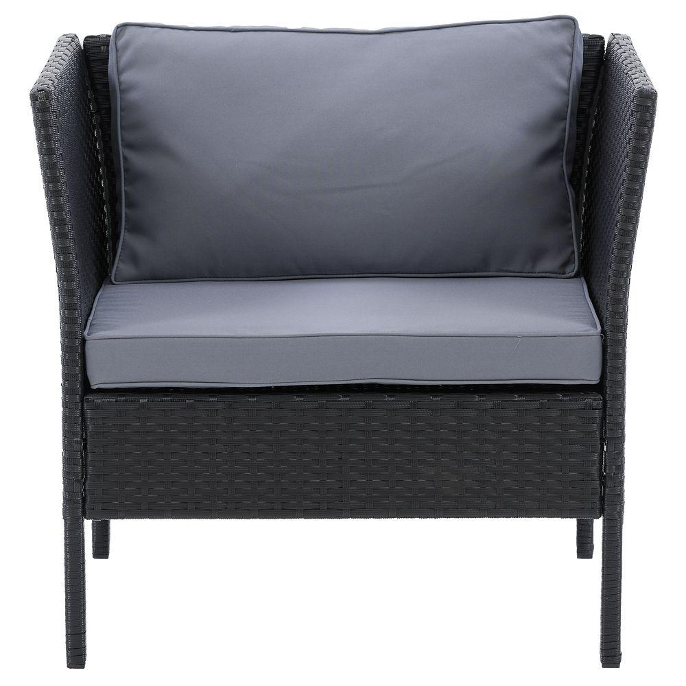 Corliving CorLiving Patio Armchair - Black Finish/Ash Grey Cushions