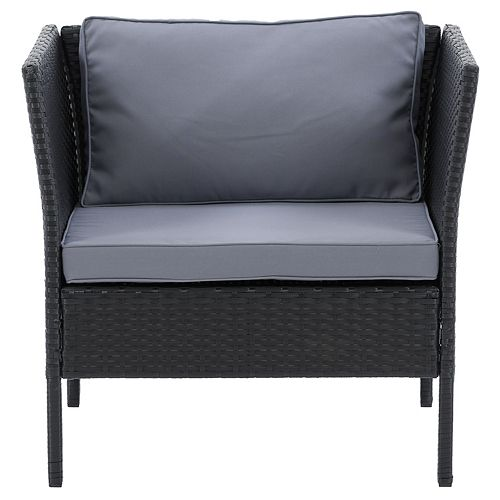 CorLiving Patio Armchair - Black Finish/Ash Grey Cushions