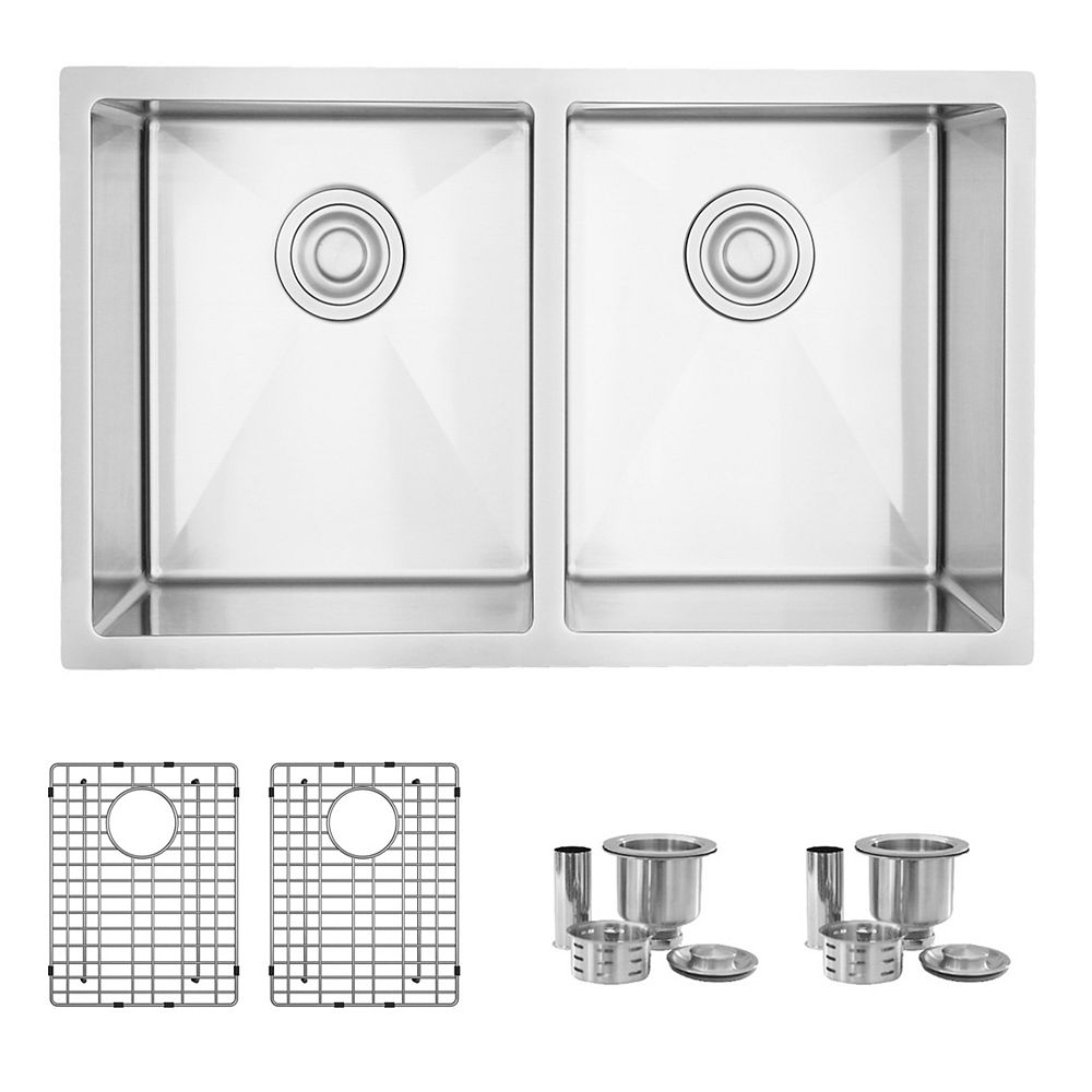 Stylish 30 L x 18 W-inches Undermount Double Bowl 16 Gauge Stainless Steel Kitchen Sink with Grids Strainers