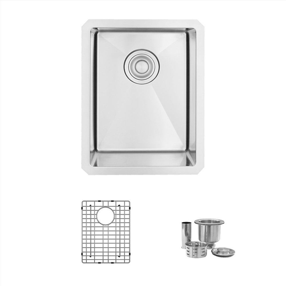 Stylish 14 L x 18 W-inches Undermount Single Bowl 18 Gauge Stainless Steel Bar Sink with Grid Strainer