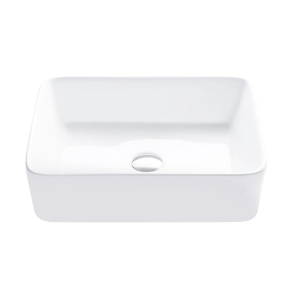 porcelain rectangular 18 3 4 inches topmounted vessel bathroom sink white