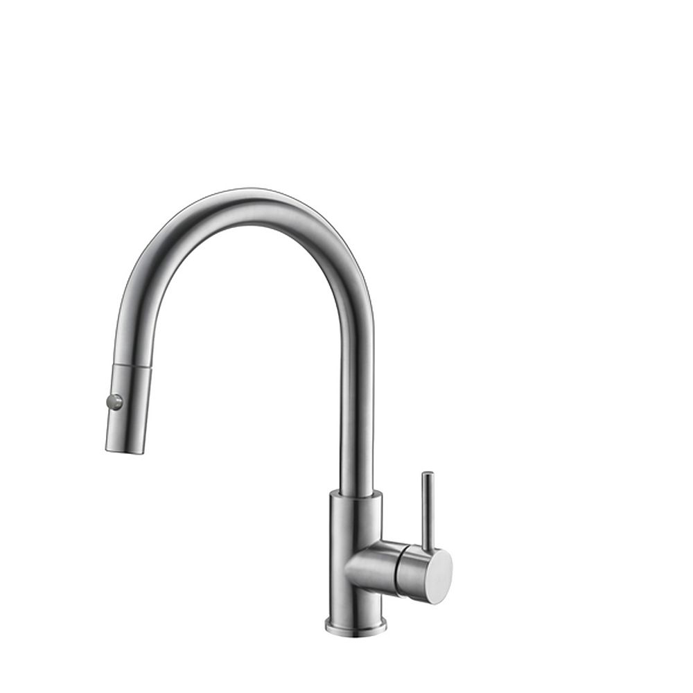 Stylish Modern Single Handle  Pull down Sprayer  Kitchen Faucet in Stainless Steel