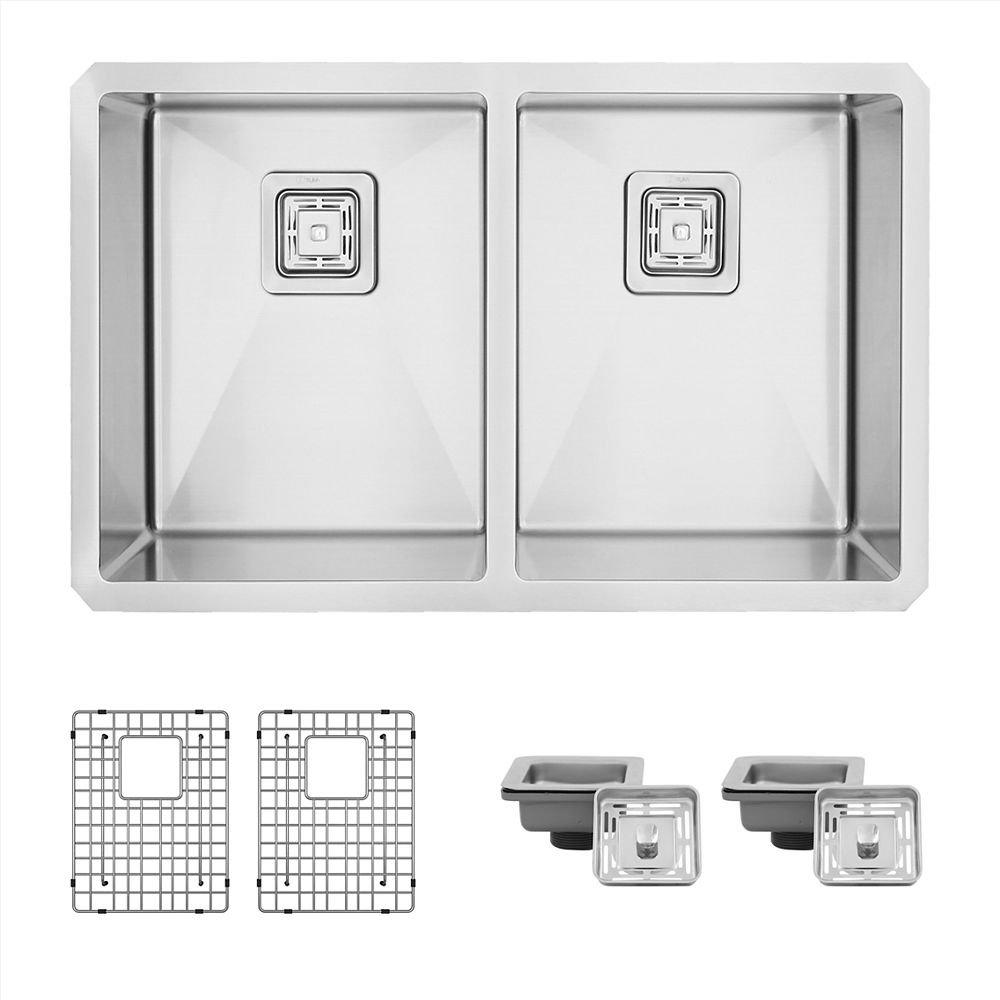 Stylish 30L x 18W-inch Undermount Double Bowl 16G Stainless Steel Kitchen Sink with Grids  Square Strainers