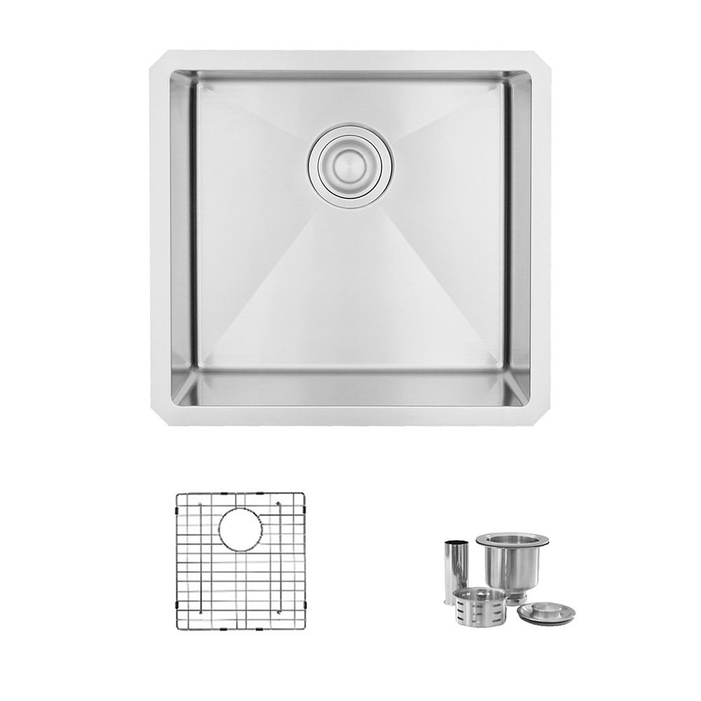 Stylish 19L x 18W-inch Undermount Single Bowl 16 Gauge Stainless Steel Kitchen Sink with Grid and Strainer