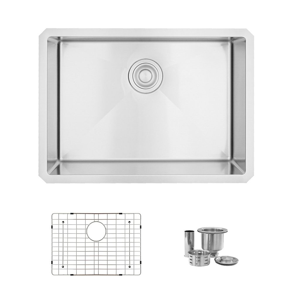 Stylish 25l X 18w Inch Undermount Single Bowl 16 Gauge Stainless Steel Kitchen Sink With G The Home Depot Canada