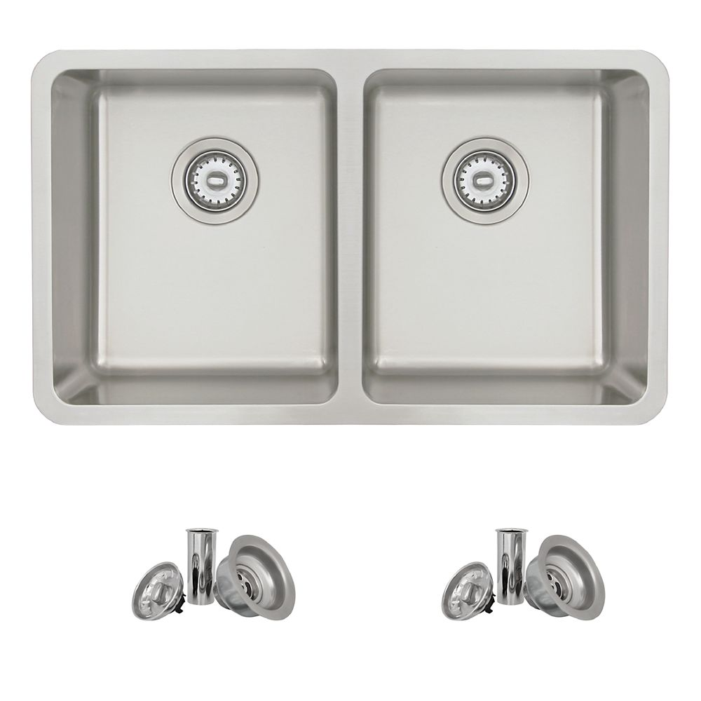 Stylish 30L x 18W-inch Dualmount Double Bowl 18 Gauge Stainless Steel Kitchen Sink with Strainer