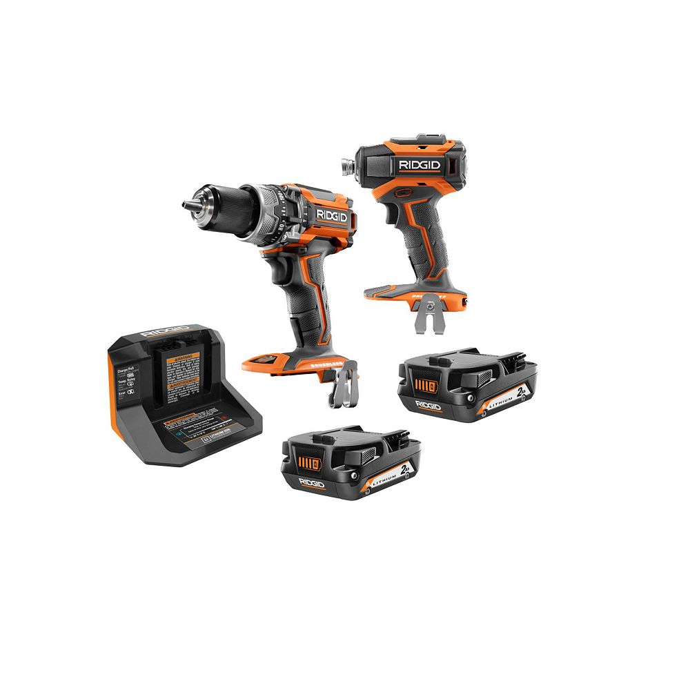 RIDGID 18V Lithium-Ion Cordless Brushless Hammer Drill and Impact Driver Combo Kit with (2) 2.0 Ah Batteries and Charger