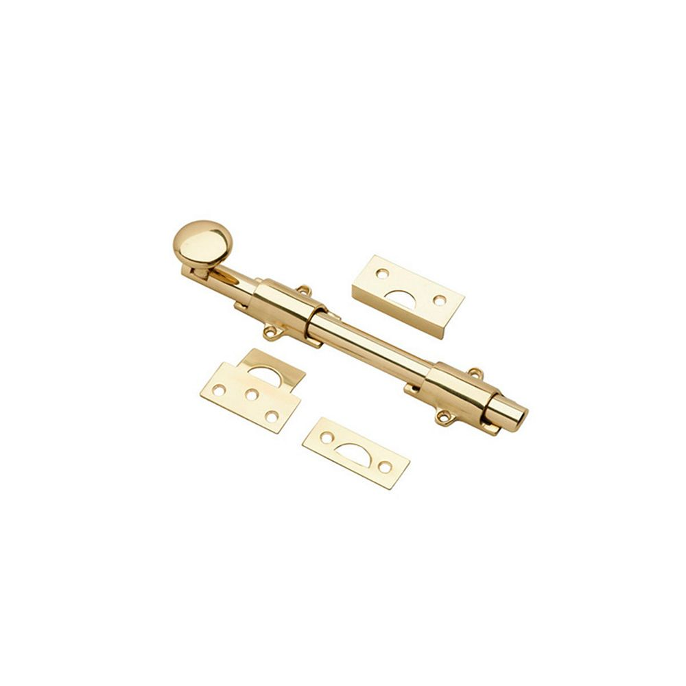 Onward 8 in (203 mm) Surface Bolt, Solid Brass, Brass