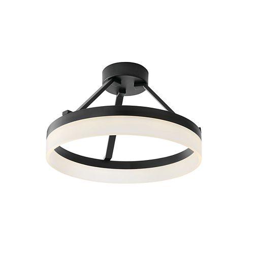 15-inch Black LED Halo Semi-Flush Mount Light