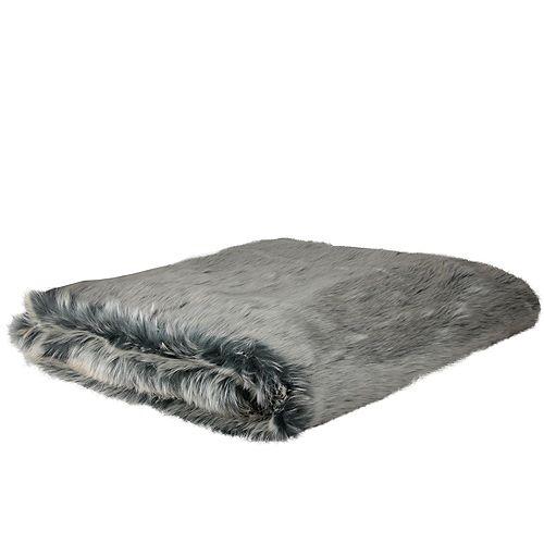 """Blanc et gris en fausse fourrure en peluche super Throw Blanket 50"""" x 60"""""""