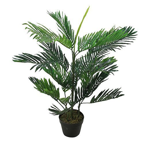 """40"""" Potted Two Tone Green Artificial Tropical Mini Palm Tree"""