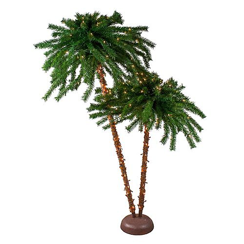 6' Dual Pre-Lit Artificial Tropical Outdoor Patio Palm Trees  Clear Lights