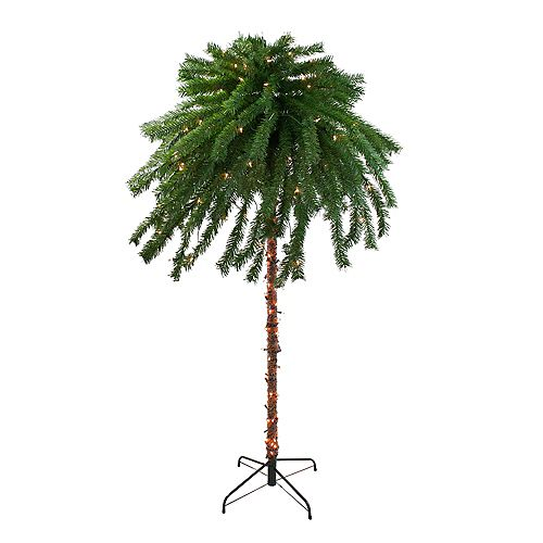 6' Pre-Lit Artificial Tropical Outdoor Patio Palm Tree  Clear Lights