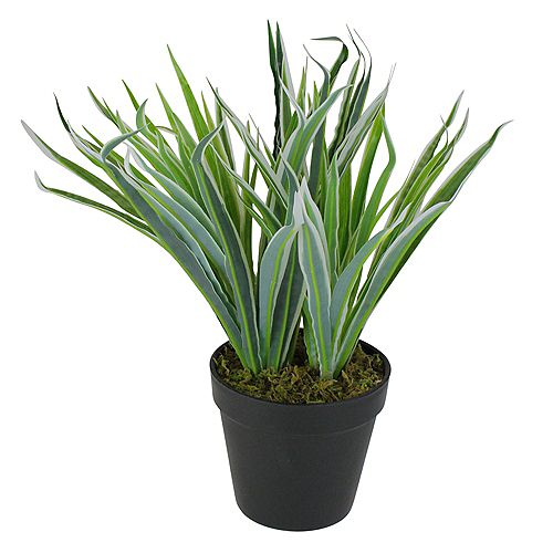 """13"""" Two Tone Green and White Artificial Grass Potted Plant"""