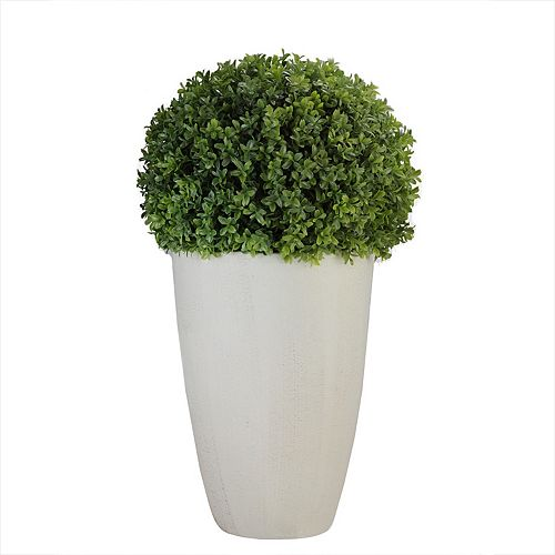 """27"""" White and Green Potted Artificial Boxwood Plant"""