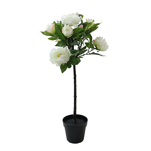 """31"""" Potted White Artificial Blooming Peony Flower Plant"""