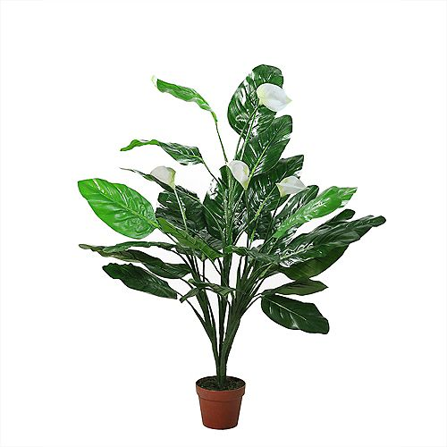 """47.5"""" Potted Green and White Artificial Tropical Peace Lily Spathe Plant"""