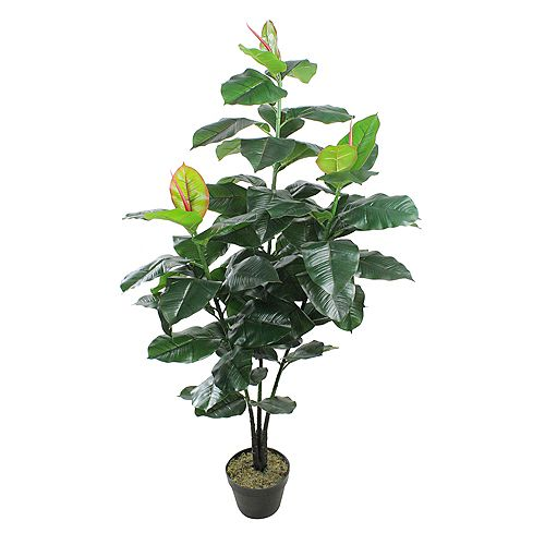 """51"""" Potted Green and Red Artificial Rubber Inspired Plant"""
