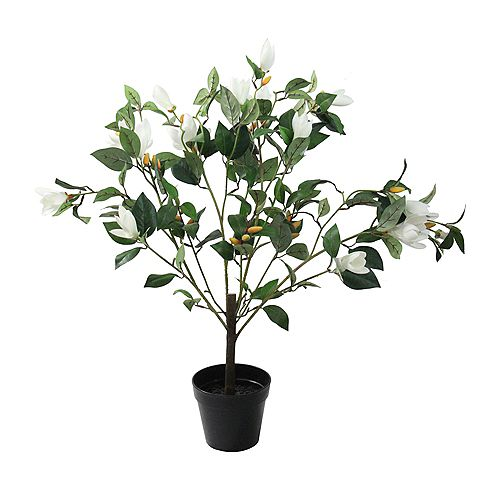 """32.5"""" Artificial Potted White Lily Magnolia Flowering Tree"""