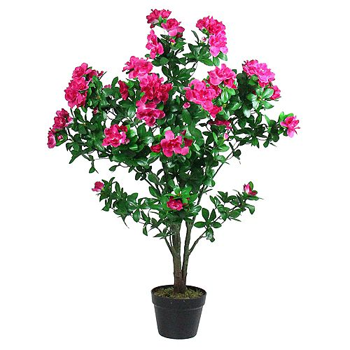 """43.25"""" Potted Green and Pink Artificial Azalea Flower Tree"""