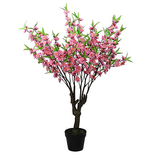 """43.5"""" Potted Pink and Green Artificial Floral Peach Blossom Tree"""